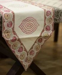 Jaipuri Hand Block Printed White Cotton Table Runner 14 x 72,16 x 90