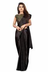 Suyukti Fab Multicolor Plain Satin Silk Saree Party Wear For Women With Jacquard Black Blouse