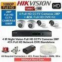 2 MP Hikvision 4 Nos CCTV System Setup