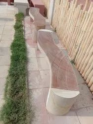 Rainbow Sandstone Curved Shape Bench