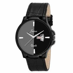 Jainx Black Day and Date Round Analogue Watch for Men & Boys JM328