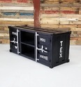Black Industrial Metal TV Cabinet Container Style Large L 55