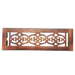 Flower Brass Wall Register with Louver - 2-1/4inch x 12inch (3-7/8inch x 13-1/2inch Overall)