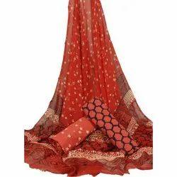 Unstitched Printed Cotton Salwar Kameez Material