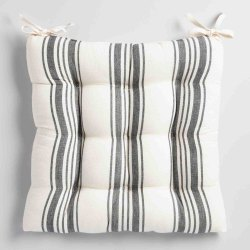 Linen Chair Cushion Pad Stripe