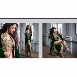 Pakistani Style Heavy Velvet Fabric Embroidered Worked Pant Style Salwar Suit