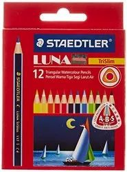 Staedtler Luna Trislim Half Size Watercolor Pencils, 12 Shades