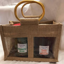 Cane Handle Jute Jar Bag