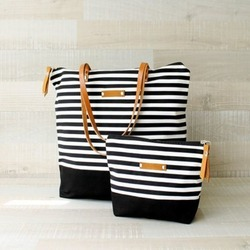 Canvas Bag With Stripe Print