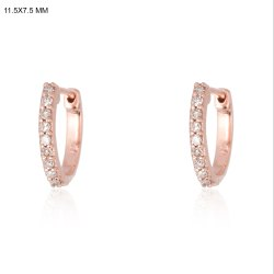 Chic Designs Round Pave Diamond Earrings, Size: 11.5x1.7 Mm, Packaging Type: Box