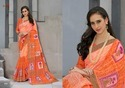 Orange Cotton Linen Sarees