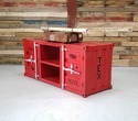 Red Industrial Metal TV Cabinet Container Style Large L 55