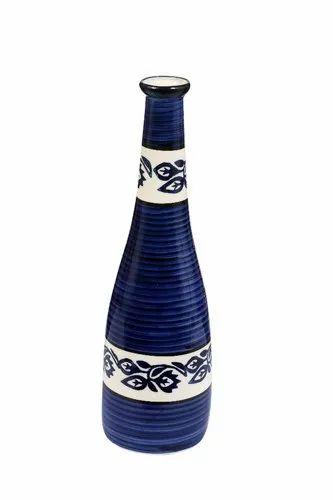 Blue Ceramic Flower Vase, Shape: Bottle