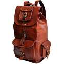 Brown Leather Backpack Bag, Size: 16 Inch