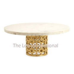 Metal and Marble Top Decorative Cake Stand