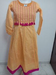 Musterd Churidar Seemly Beautiful Mustard Color Embroidered Anarkali Long Dress (E59)