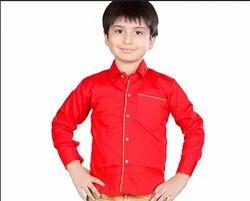 Red Plain Boys Shirts