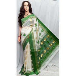 White And Green Garad Saree
