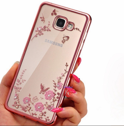 huge discount ebdba d708b Auora Flower Case with Sparkle Crystals For Galaxy J7 Prime Back Cover Rose  Gold