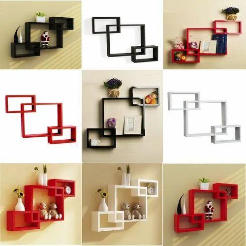 Set Of 3 Wall Shelves Wenge Mdf Decoration Intersecting Floating Shelf Rack Brown