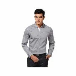 Grey Cotton Men College Formal Shirt, Size: 38 to 44