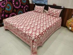 Hand Block Printed Cotton King Size Bedsheet
