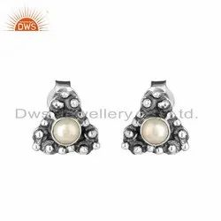 Pearl Gemstone Designer Sterling Silver Oxidized Womens Earrings
