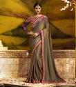 Women's Designer Paper Silk Saree With Blouse Piece
