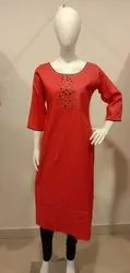 Embroidered Calf Long Cotton Ladies Kurti, Machine wash, Age Group: 16-55