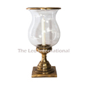 Glass and metal hurricane candle lamp brass antique finish