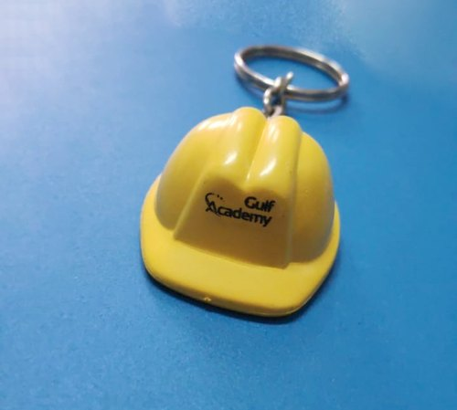 Yellow & White Plastic Safety Helmet Keychains