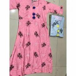 Pink (Base) Floral Print Rayon Kurti, Handwash