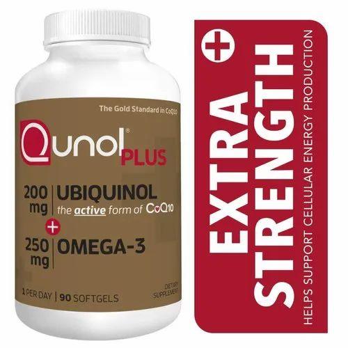 Qunol Plus Ubiquinol 200 mg. with Omega-3, 90 Softgels