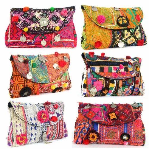 New Indian Handmade Vintage Ladies Purse Embroidery Novalty Envelope Clutch Bag