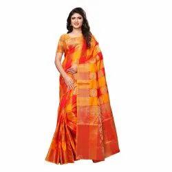 Red & Yellow Colored Poly Silk Kanjivaram Party Wear Saree