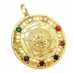 Gold Plated 24K Navratan Rudraksh Yantra Pendants