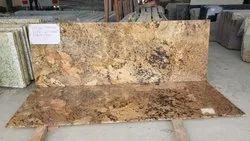 Polished Big Slab Alaska Gold Granite, For Countertops, Thickness: 15-20 mm