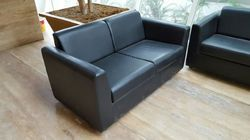 Wooden & Leather Black 2 Seater Sofa