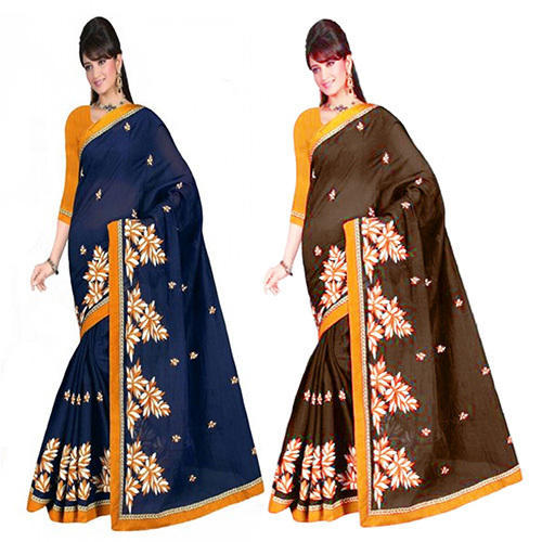 Party Wear Embroidered Cotton Silk Lace Border Saree