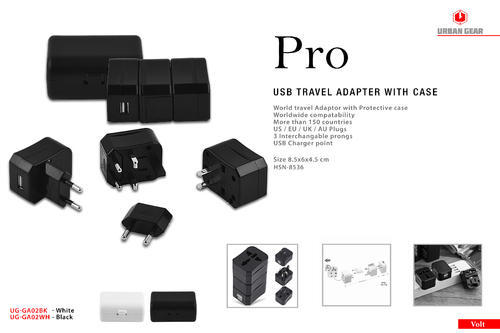 Urban Gear - Pro - USB Travel Adapter with Case - UG-GA02