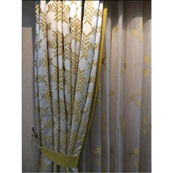 White(Base) Printed Cotton Curtain, Size: 6 To 7 Feet(height), for Home