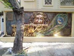 Fiber Lord Shree Krishna Panel for Decoration, Size: 16Ft X 10Ft
