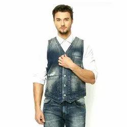 Adiz Plain Men Denim Jeans Waistcoat