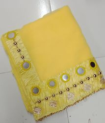 Georgette Mirror And Hand Work  Bordered Pattern Yellow Saree