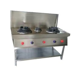 Stainless Steel Triple Burner Chinese Gas Stove, For Commercial Kitchen