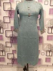 Straight 3/4th Sleeve Ladies Long Plain Cotton Kurti