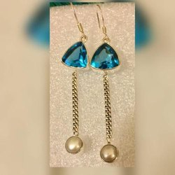 Blue Topaz 925 Sterling Silver Finished Earrings