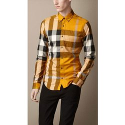 Cotton Collar Neck Casual Wear Men's Checkered Shirt, Packaging Type: Packet, Machine wash