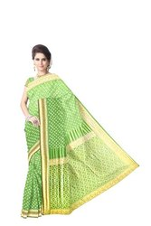 All Over Pista Color Dupion Silk Bandhani Saree