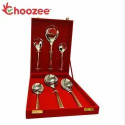 2 Tone Copper Stainless Steel Serving Cutlery Set of 6 Pcs